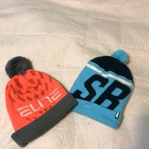 2 Nike Hats with Trendy Pom-Poms